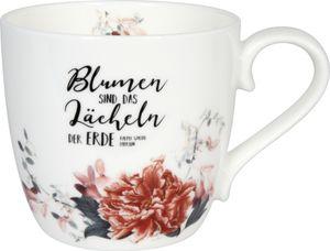 Kaffeetasse Becher Tasse Porzellan Blumen Lächeln Kaffeebecher Knochenporzellan 425 ml