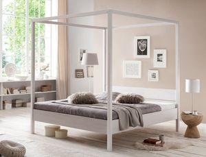 Himmelbett Sabri Kernbuche weiß Größe nach Wahl Massivholzbett Bett, Liegefläche:180 x 200 cm