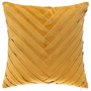 ATMOSPHERA Kissen mit abnehmbarem Bezug, Velours, geflochten, Ockerfarben, 40 x 40 cm, Ocker, cm  - Atmosphera