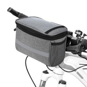 Radfahren Fahrrad Isolierte Vordertasche MTB Fahrrad Lenkertasche Korb Pannier Kuehltasche mit Reflektorstreifen
