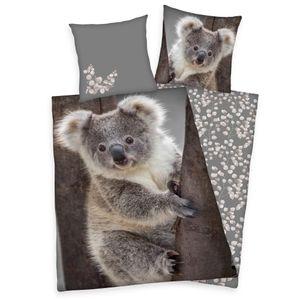 Bettwäsche Set mit Koala 135 x 200 cm 80 x 80 cm 100% Baumwolle