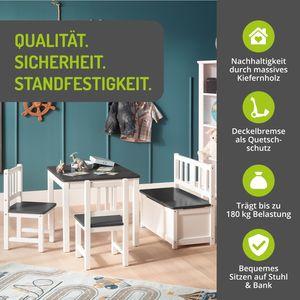 BOMI® Sitzgruppe für Kinder Tisch und Stühle | Babysitzgruppe aus Kiefer Massiv Holz für Kleinkinder, Mädchen und Jungen Anthrazit
