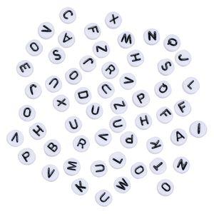 200 Stück Buchstabenperlen Acryl Alphabet Perlen Schmuckperlen für Armbänder 2 # Schwarze Buchstaben 7 x 4 mm