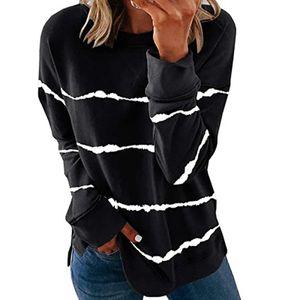 Damen gestreifte bedruckte Langarm Sweatshirt T-Shirt Pullover Top,Farbe: schwarz,Größe:3XL