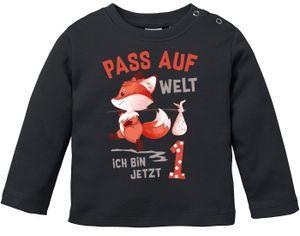 Baby Langarm-Shirt 1. Geburtstag Pass auf Welt ich bin jetzt 1 2 Fuchs Geburtstagsshirt Baumwolle MoonWorks® 1 schwarz 80/86 (10-15 Monate)