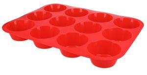 Muffinblech Muffinform aus Silikon Cupcake Muffin Backform Silikonform für 12 Muffins in Rot