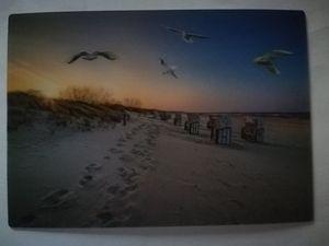 3 D Ansichtskarte Strandkörbe, Postkarte Wackelkarte Hologrammkarte, Strand Meer Möwen