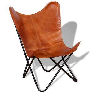 Butterfly-Sessel im Vintage-Sil Braun Echtleder