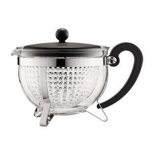Bodum - Chambord Teekanne 1,3l schwarzen Griff und transparentem Filter