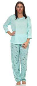 Damen Pyjama lang zweiteiliger Schlafanzug muster, Grün XL