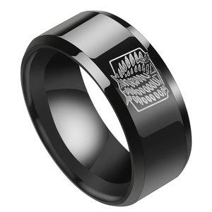 Anime Attack on Titan Wings of Liberty Zeichen Edelstahl Ring Kreative Unisex Paar Ring Beliebte Geschenke für Anime-Fans -Black 13