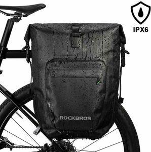 ROCKBROS Packtasche Gepäckträgertaschen Fahrradtasche 100% Wasserdicht 27L Schwarz  Neue Schnalle, 20L vor der Expansion, 27L nach der Expansion