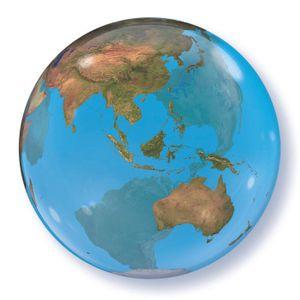Folat ballon Planet Erde 56 cm latex blau/grün