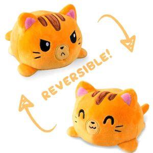 Doppelseitige Flip Katze Puppe Plüschtier Niedlichen Flip Sanft  Plüsch Katze-Orange Katze 15cm