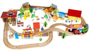 Spielzeug-Eisenbahn Holeisenbahn Kinder Zug Set 89 Teile 11222