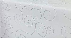 Ornamente Tischdecke Oval 130x220 cm WEIß