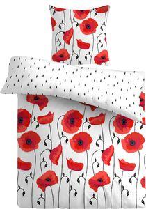 4 teilig Bettwäsche 135x200 cm Mohnblume Blumen rot weiß Wende Mikrofaser Set