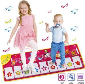 Piano Mat Tanzmatten Musikmatte Pianomatte Kinder 8 Tierstimmen Klaviertastatur Spielzeug Musik Matte, Keyboard Matten Spielteppich Baby Tanzmatte für Jungen Mädchen Kinder 100*36 cm, Rosa