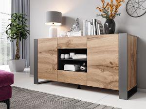 Mirjan24 Kommode Wood, Stilvoll Sideboard mit zwei Schubladen und Türen, Moderne Füße (Farbe: Wotan / Anthrazit)