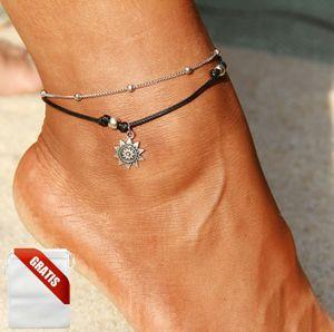 Fußkettchen Damen Silber Sonne Weiß Fußkette Schwarz Fusskette Schmuck Geschenk