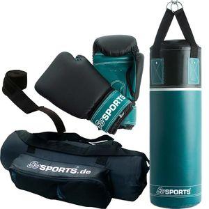 ScSPORTS® Boxsack Set für Kinder und Jugendliche, Boxset mit Boxhandschuhen, Boxbandagen und Tasche 5,5 kg, petrol-blau schwarz