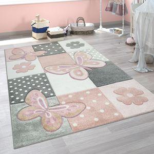 Kinder Teppich Kinderzimmer Bunt Rosa Schmetterlinge Karo Muster Punkte Blumen, Grösse:140x200 cm