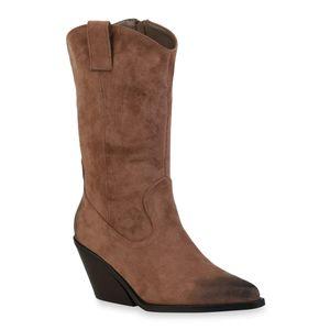 Mytrendshoe Damen Cowboystiefel Chunky Heels Stiefel Schuhe 835816, Farbe: Khaki, Größe: 37