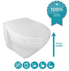 Calmwaters® Erhöhtes Wand-WC spülrandlos Modern Plus mit Toilettendeckel, + 6 cm Erhöhung, inklusive abnehmbarem WC-Sitz mit Absenkautomatik und Schnellbefestigung, Tiefspüler, Weiß, 08AB5815