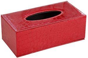 Rechteckige Leder Kosmetiktücherbox für Zuhause/Büro/Auto,  Croco Rot