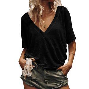 Sommer Frauen Plus Size Solid Color V-Ausschnitt Kurzarm T-Shirt Loose Basic Top Schwarz XXXL