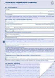 AVERY Zweckform 2877 Arbeitsvertrag, DIN A4, für gewerbl. Arbeitnehmer, 1 Satz/5 Stück, blau