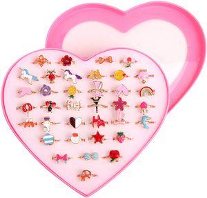 Apotto Kinderringe Mädchen, Kinder Ringe Set, 36 Stück Einstellbare Ringe funkeln mit Herzform Vitrine, Verstellbare Bunte Fingerringe Prinzessin Schmuck Fingerringe.