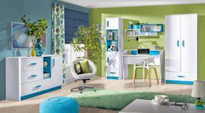 Jugenzimmer Kinderzimmer Set 5teilig Kleiderschrank weiß / türkis