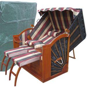 Strandkorb Angebot ✔ 2-Sitzer ✔ XXL ✔ rot-grün ✔ PE-Rattan