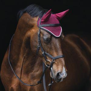 Horseware Rambo Ear Net - Pomegranate/Black - Fliegenkopfschutz, Größe:Pony (S)