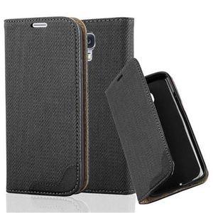 Cadorabo Hülle für Samsung Galaxy S4 - Hülle in EBENHOLZ SCHWARZ - Handyhülle in Bast-Optik mit Kartenfach und Standfunktion - Case Cover Schutzhülle Etui Tasche Book Klapp Style