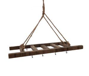 Deko Leiter zum aufhängen mit Kordel - ca. 60x25 cm - mit 10 Haken
