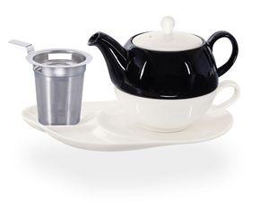 Buchensee Tea for one mit Sieb / Teeset Lena, Teekanne 500ml mit Sieb, weiß/schwarz, Crystal Bone China Porzellan