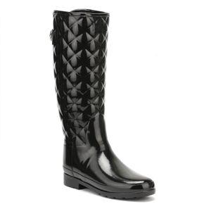 Hunter Damen verfeinerte, hohe, gesteppte, schwarze, schwarze Welly-Stiefel