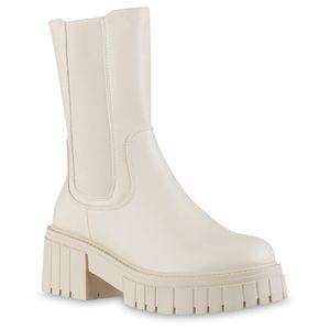 VAN HILL Damen Leicht Gefütterte Plateaustiefel Stiefel Profil-Sohle Schuhe 837812, Farbe: Beige, Größe: 38