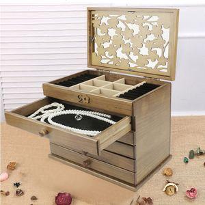 Schmuckkästchen Schmuckschatulle Schmuckkoffer Schmuckkästchen 6 Schicht Schubladen 32x22.5x25cm braun