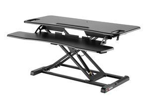 Exeta ergoX Höhenverstellbarer Steh-Sitz Tischaufsatz Schreibtisch (Model 2021) höhenverstellbarer Schreibtisch in schwarz