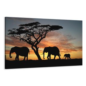 120 x 80 cm Bild auf Leinwand Afrika Elefant 5066-SCT deutsche Marke und Lager  -  Die Bilder / das Wandbild / der Kunstdruck ist fertig gerahmt