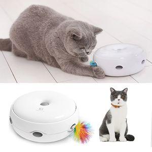 Interaktives Katzenspielzeug Elektronisches Smart Cat Teasing-Spielzeug mit Tropfgeräuschen Feder Smart Modi Nachtlicht[Weiß]