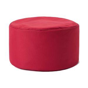 Lumaland Indoor Outdoor Sitzhocker 25 x 45 cm - Runder Sitzpouf, Sitzsack Bodenkissen, Bean Bag Pouf WASSERABWEISEND - Pflegeleicht - Rot