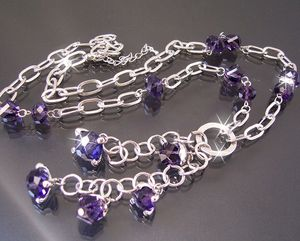 K1815# Y-Kette silber Perlen facettiert transparent lila