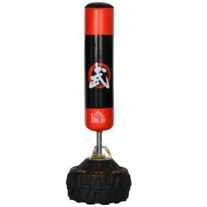 HOMCOM Standboxsack Erwachsene Freistehender Boxtrainingsgerät Boxpartner Boxassistent Training mit Saugfuß Schwarz+Rot 60x60x180 cm