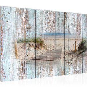 Strand Holz Bretter BILD 120x80 cm − FOTOGRAFIE AUF VLIES LEINWANDBILD XXL DEKORATION WANDBILDER MODERN KUNSTDRUCK MEHRTEILIG 606131a