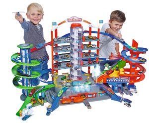 Majorette Super City Garage, Parkgarage / motorisierte Bahn für Modellautos mit Parkplätzen und Eisenbahn, Parkhaus für Die-cast Autos, Spielzeug als Geschenk für Jungen und Mädchen, ab 5 Jahren, mehrfarbig
