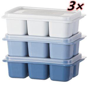 3 Stück Eiswürfelform Eiswürfelbehälter,Eiswürfel Form - Eiswuerfelbehaelter Mit Deckel , 6 Würfel Eiswürfelschalen